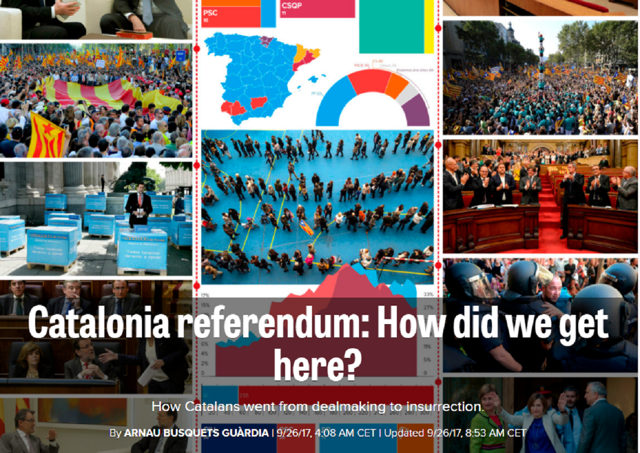 """From dealmaking to insurrection"": 'Politico' on the Catalan independence movement"