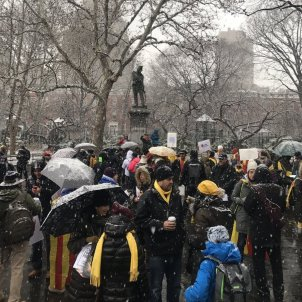 Solidarity with Catalan prisoners under the New York snow