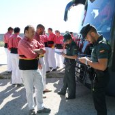 Human tower teams protesting outside Spanish prison are ID-checked by police