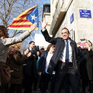 "Cries of ""Liberty!"" for Catalan prisoner Josep Rull at start of work leave"