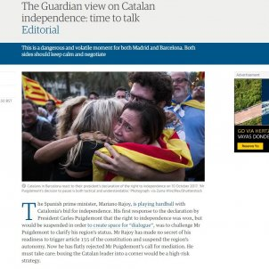 """'The Guardian' urges Spain to avoid the """"catastrophe"""" of Article 155"""