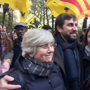 Catalan ministers Ponsatí, Comín and Serret protest in Brussels