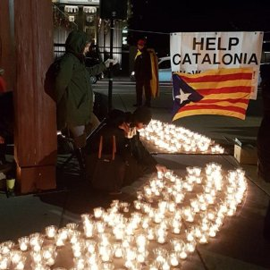 Demonstration against police repression in Catalonia in front of the UN