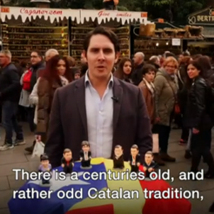 The BBC explains the Catalan election from Barcelona's Christmas market, with some special props
