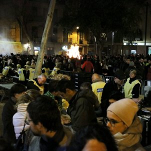 Barcelona's Gràcia district burns symbolic '155' in festive bonfires