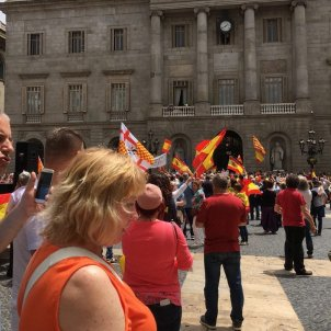 Aggressive unionists try to enter Barcelona city hall, which removes yellow ribbon