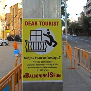 Anti-tourist 'balconing' posters appear around Barcelona