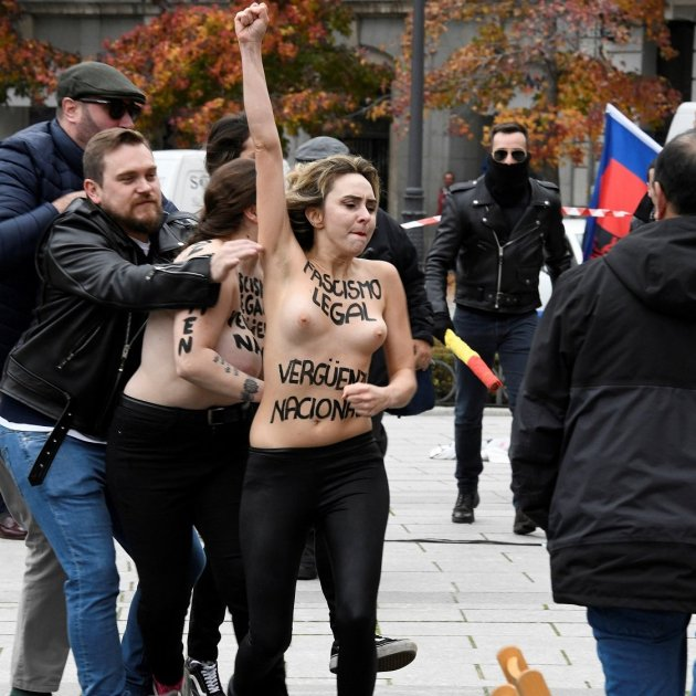 "Fascists chant ""Franco, Franco"" in Madrid, and Femen responds with counter protest"