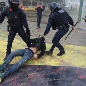 Clashes between Catalan police and anti-fascist demonstrators