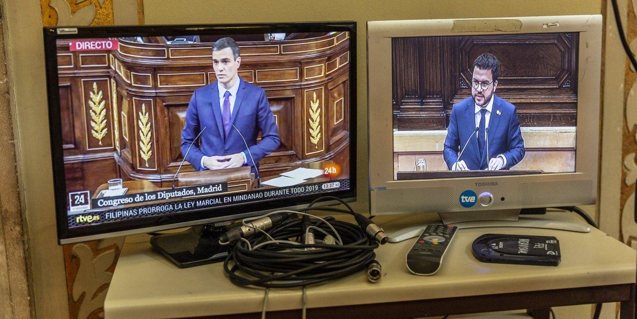 Sanchez Aragonès Pantalla Directe Parlament Congrés Sergi Alcazar 02
