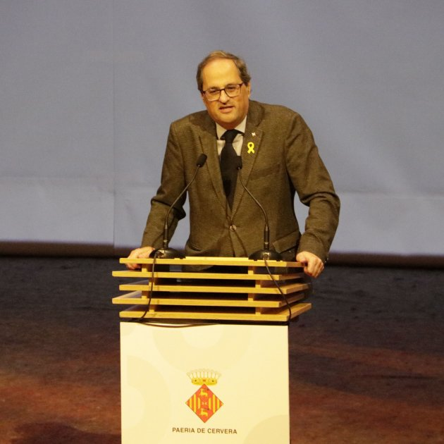"Torra adopts Òmnium's slogan and calls on all Catalans to ""accuse the State"""