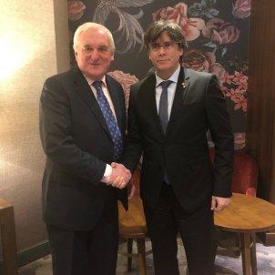 Puigdemont meets former Taoiseach Bertie Ahern, speaks at Trinity College Dublin