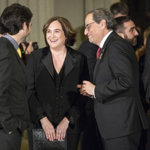 Quim Torra and Ada Colau walk out on formal greeting for Spain's king Felipe