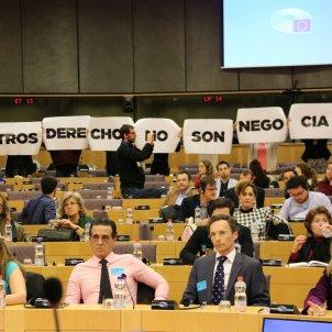 Female EU staff protest far-right Vox's event in the Parliament