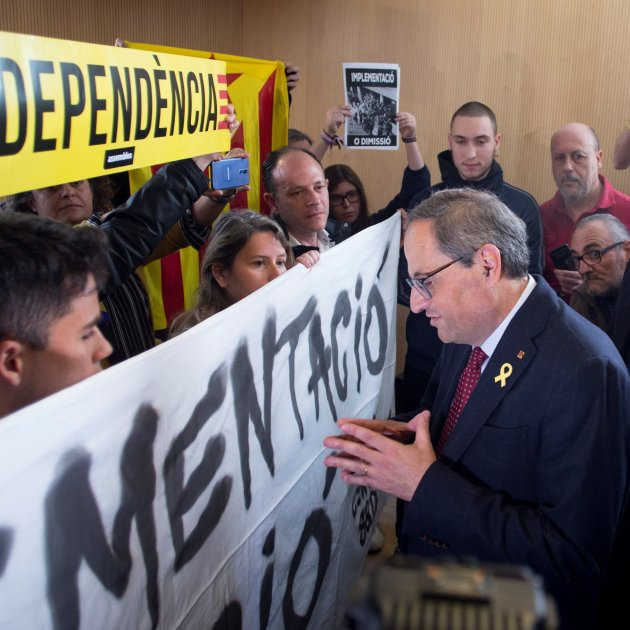 CDR protest group confronts Torra on his commitment to the Catalan Republic