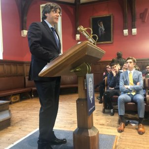 Carles Puigdemont speaks at the Oxford Union