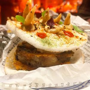 Dorayaki de cerdo ibérico con gambas