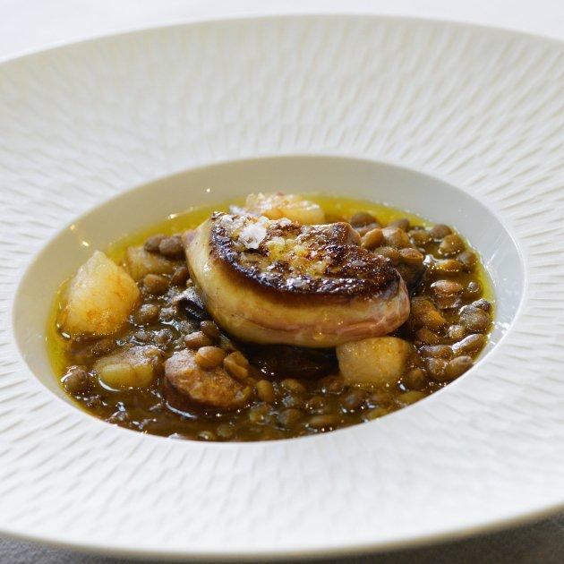 Llenties amb foie - plats catalans