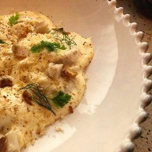Raviolis de foie con anguila ahumada