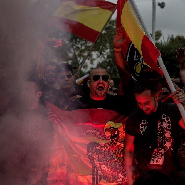 12-O, hispanitat, espanyolisme, democracia nacional, dn, ultra, bengales, fum, crema estelades, bandera franquista (bona qualitat) - Carles Palacio