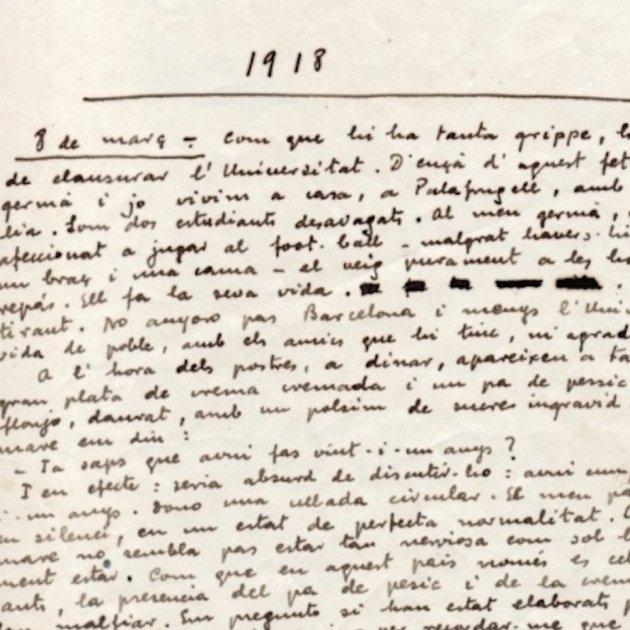 el quadern gris manuscrit conservat a la fundacio josep pla