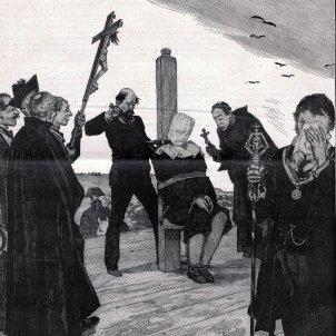 bojos savis difunts 1879 01 18, Le Monde illustré, Une exécution en Espagne, Le supplice du garrot, Exécution de Oliva Moncasi, au Campo de Guardia, le 4 janvier, Vierge (cropped)