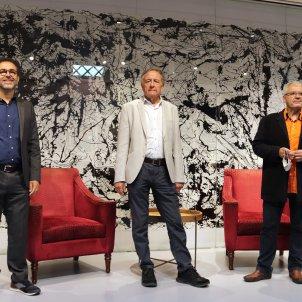Emili Rosales, Josep Ramoneda i Màrius Serra durant l'acte de presentació de novetats de Grup 62/ACN