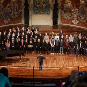 Assistents als tallers de cant coral actuant al  Palau de la Música. Quim Roser