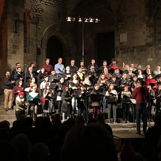 L'Orféo Català a la plaça del Rei, gener de 2018. Orféo Català