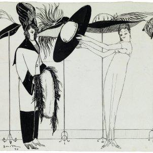 Ismael Smith, Dues dones en un atélier de barrets. Il·lustració per a la revista ¡Cu-Cut!, 1910 col·lecció particular. Fundació Palau