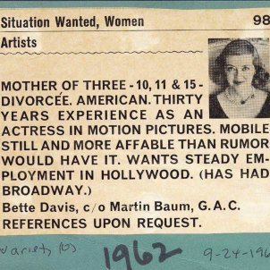 Bette Daviss 1962 Variety ad seeking employment