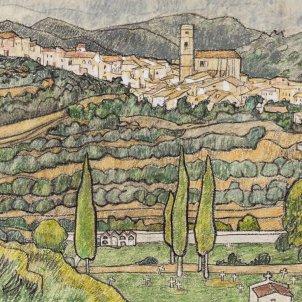 El poble i el cementiri. Exposició 'El Priorat per Josep Subirats'.