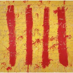 Tàpies, 'Esperit català 1971 Procediment mixt sobre fusta200 × 275,3 cmMuseo de la Universidad de Navarra, Pamplona