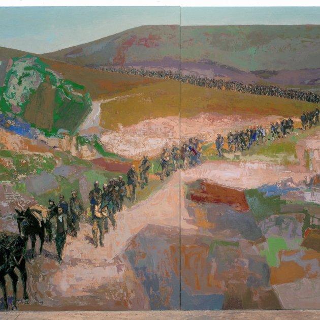 Camí de l'exili. 1975. Oli sobre tela. 250x400 Guerrero Medina Fundació Vila Casas