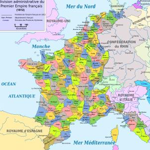 Els Bonaparte incorporen catalunya a França. Mapa del 1er. Imperi