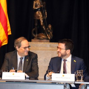 Collboni Torra Aragonés reunió Mobile Palau Generalitat  ACN