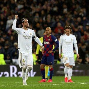 Sergio Ramos celebra gol Reial Madrid Barca EFE