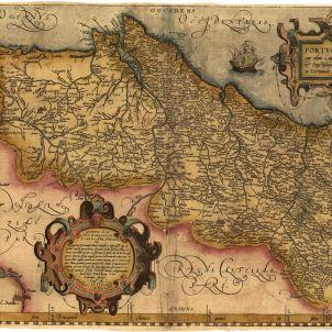 La monarquia hispànica reconeix la independència de Portugal. Mapa de Portugal. Any 1590