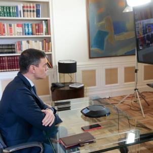 Pedro Sánchez videoconferencia La Moncloa