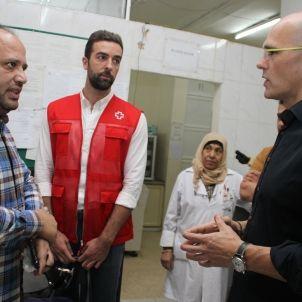 Raül Romeva a l'hospital Haifa de Beirut