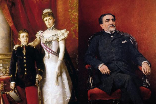 L'hereu Alfons XIII, la regent Maria Cristina i el president Sagasta. Font Wikimedia Commons i Enciclopedia