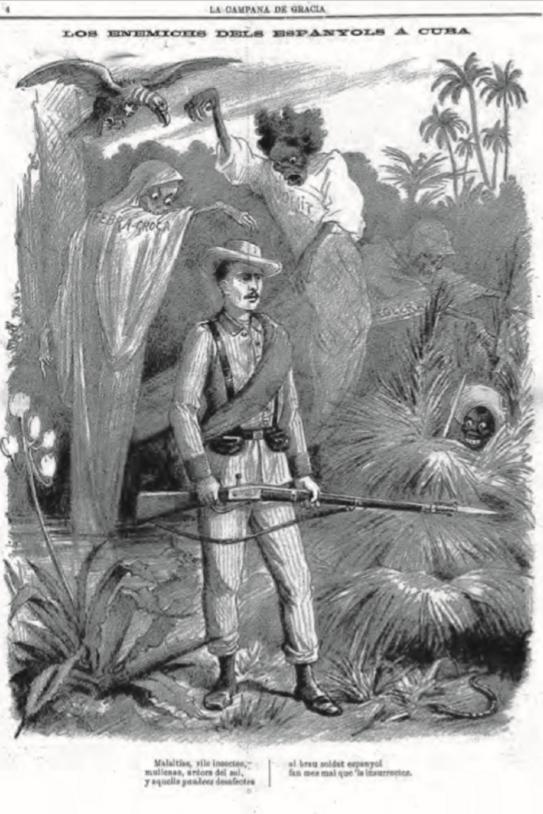 Los enemichs dels espanyols a Cuba (1895). Font La Campana de Gràcia