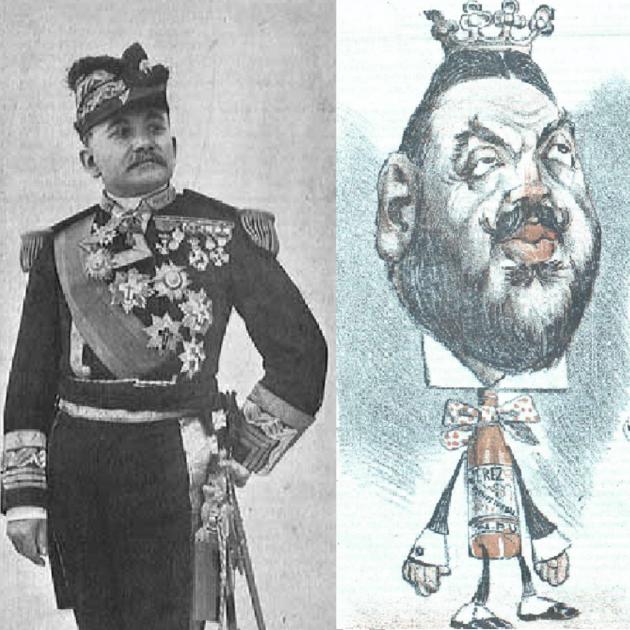 Retrat del general Auñón i caricatura del duc d'Almodovar. Font Library of Congress (USA) i Revista Don Quijote