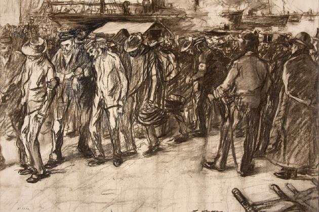 Soldats catalans al port de Barcelona que retornen de la Guerra de Cuba. Dibuix de Lluís Graner. Font MNAC