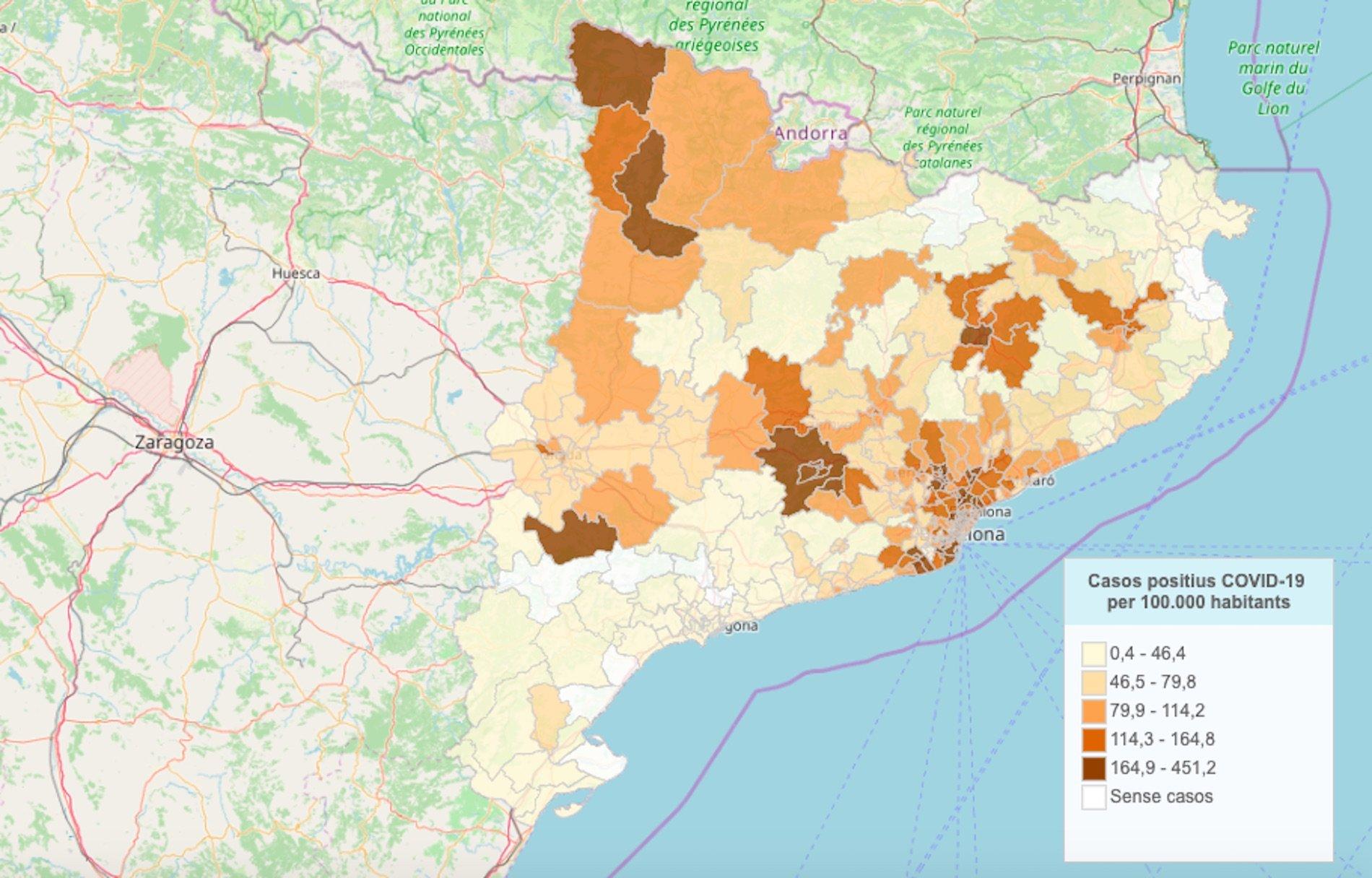 Mapa Los Contagios De Coronavirus En Catalunya Por Municipios Y