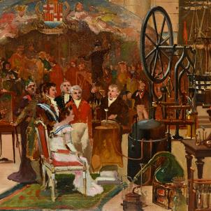 Test 96. La Casa de la Llotja. Representació de la visita de Ferran VII i Amàlia a les escoles professionals de la Casa de la Llotja (1827), obra d'Emili Casals. Font MUHBA