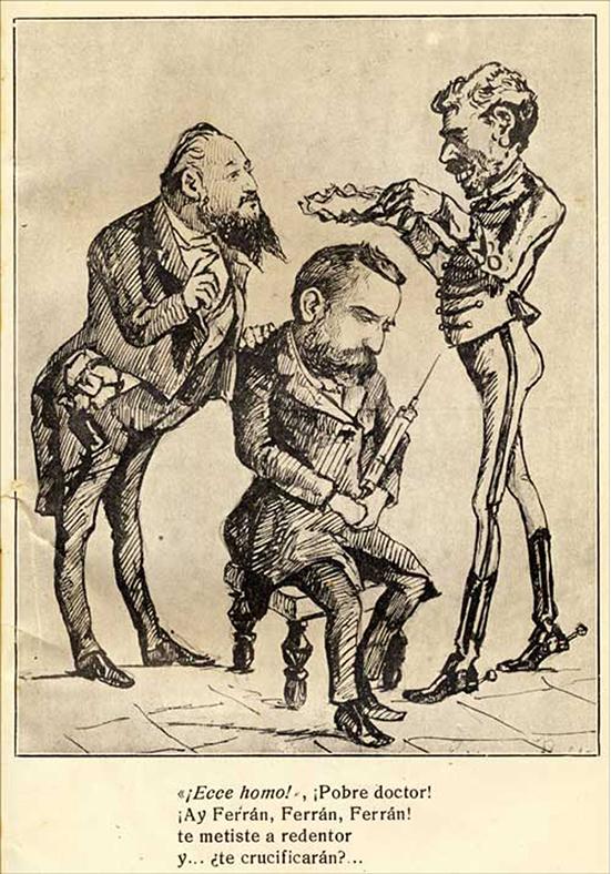 Caricatura de Ferran (centro), Alfonso XII (derecha) y Romero Robredo (izquierda), publicada en La Moma (1885). Fuente Galería de Médicos Catalanes