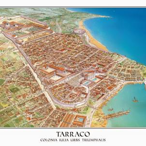 Test 99. Tàrraco romana. Dibuix idealitzat de la Tàrraco romana. Font Patronat Municipal de Turisme de Tarragona