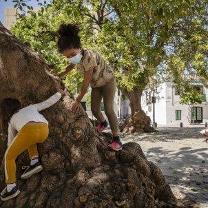 Valentina mascareta desconfinament nens jugant arbre carrers gent poblenou coronavirus - Sergi Alcazar