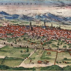 Test 100. Barchinona medieval. Gravat de Barcelona (segle XVI). Font Ajuntament de Barcelona